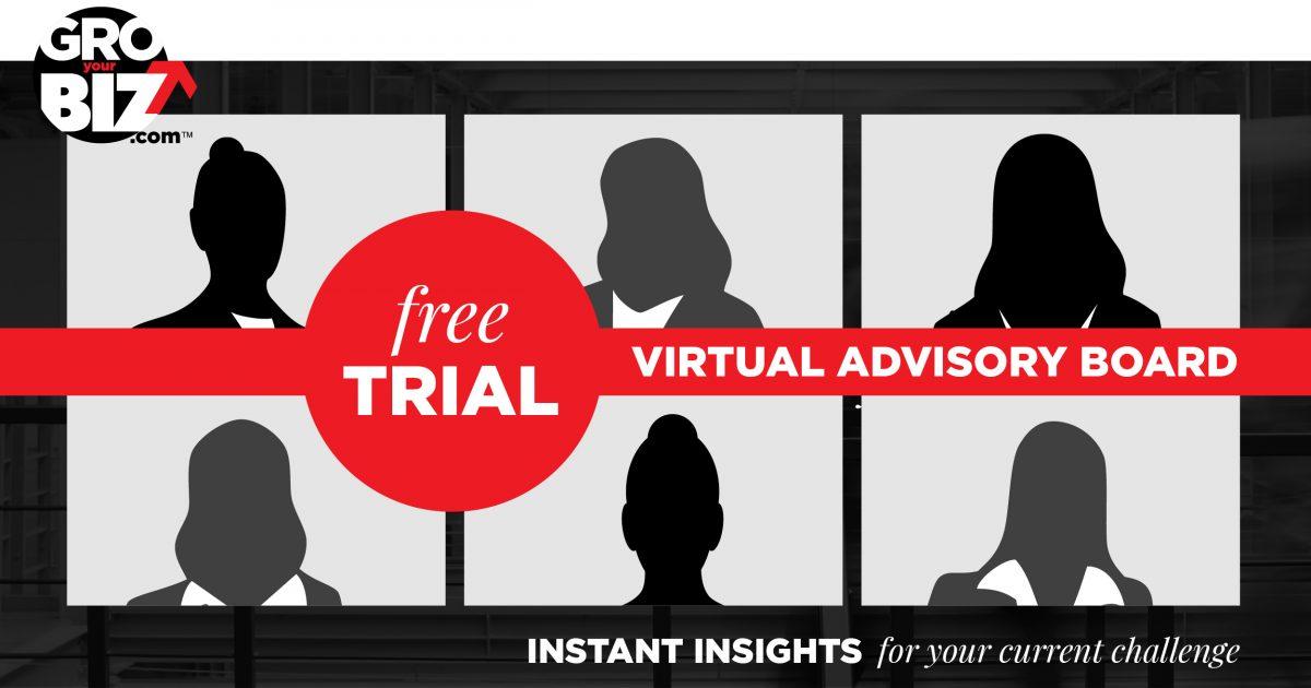 GroYourBiz 1HR Free Trial Virtual Advisory Board Facebook LinkedIn Twitter