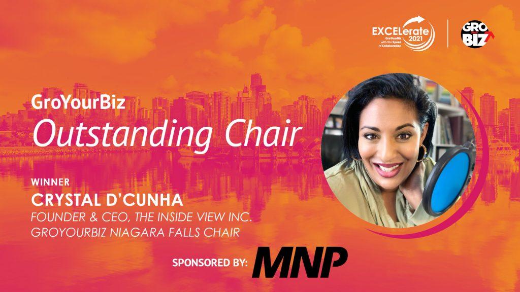 GroYourBiz Outstanding Chair Award Winner Crystal D'Cunha