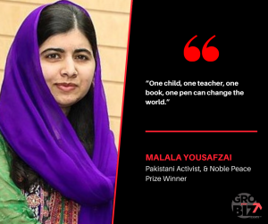One child, one teacher, one book, one pen can change the world - Malala Yousafzai